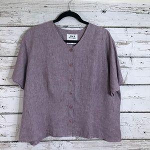 FLAX Light Purple Linen Short Sleeve Top